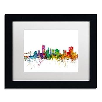 Toledo Ohio Skyline by Michael Tompsett White Matte Black Frame 11x14-Inch