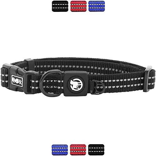 DDOXX Hundehalsband Nylon, reflektierend, verstellbar, gepolstert | viele Farben & Größen | für kleine & große Hunde | Halsband Hund Katze Welpe | Hunde-Halsbänder | Katzen-Halsband klein | Schwarz, S