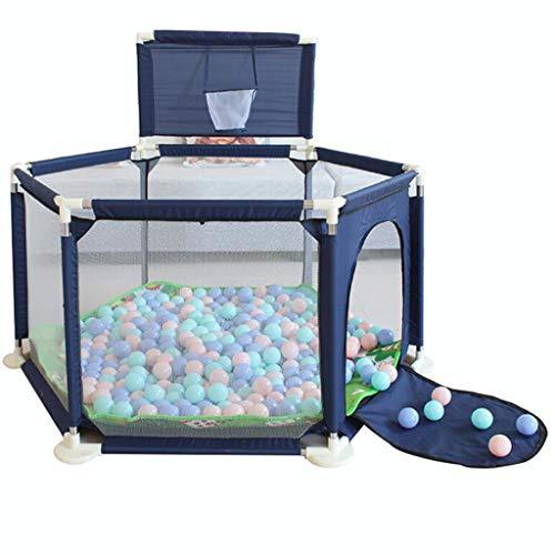 Parc de bébé Activité Centre de jeu sécuritaire Porte-bébé, fosses de balle pour les enfants avec cadre de tir, 200 balles océaniques et tapis de jeu Puzzle, grand stylo de jeu intérieur extérieur