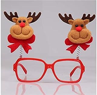 Pengcher Cute Christmas Ornaments Glasses Frames Party Xmas Decoration(Elk)