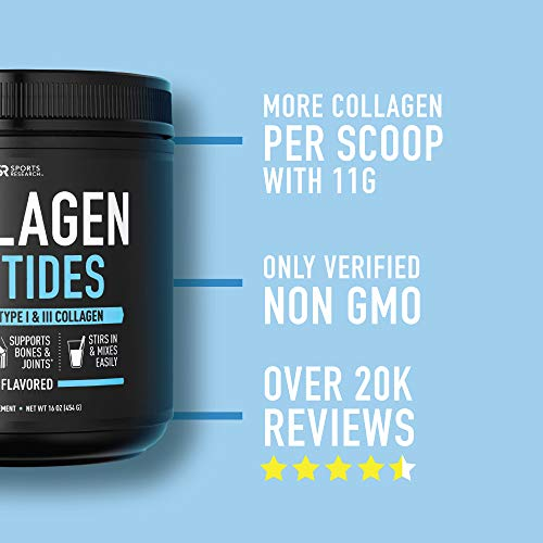 Collagen Peptides Powder | Non-GMO Verified, Certified Paleo Friendly and Gluten Free - Unflavored (16oz Jar)