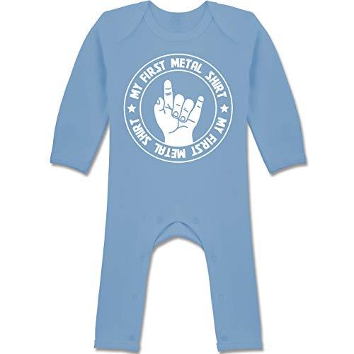 Strampler Motive - My First Metal Shirt - 3/6 Monate - Babyblau - Baby Body Rock n roll - BZ13 - Baby-Body Langarm für Jungen und Mädchen