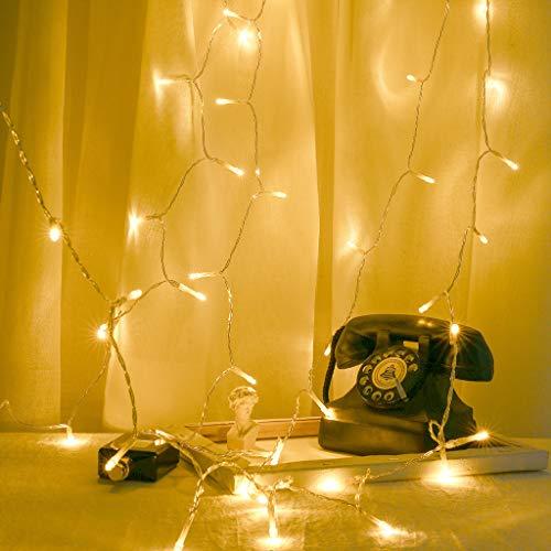 Luccase LED Vorhang Licht 4 Meter 40 LED USB Lichterketten Kunststoff Lichtschlauch Wohnzimmer Fenster Tisch Hochzeitsfeier Dekoration Girlanden Lichter