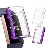 CAVN Protector Compatible con Fitbit Charge 4, [2 Piezas] Estuche Protector Ultrafino Completo Hecho de TPU Flexible Cubierta Protectora a Prueba de Golpes para Charge 3