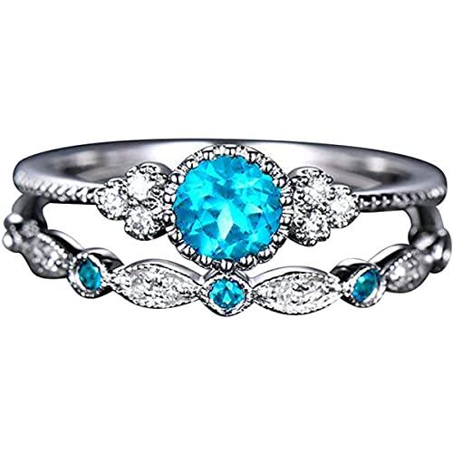 Anillo de plata de ley 925, circonita cúbica, anillo de compromiso de eternidad, de lujo, de elegancia, para parejas, accesorios de joyería, cumpleaños, día de San Valentín, para mujeres y niñas, 9