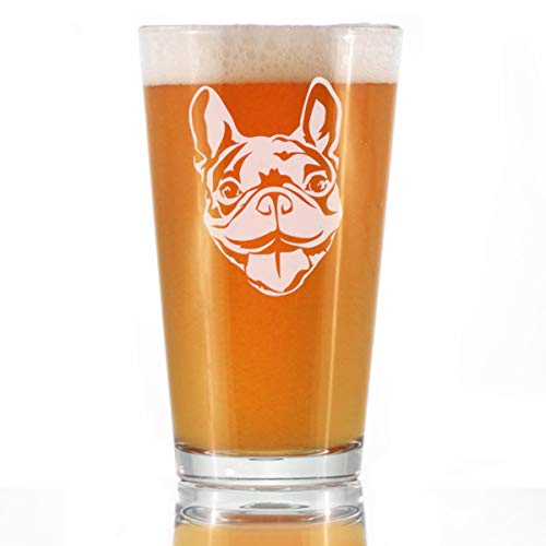 Happy Frenchie - Pint Glass for Beer - Fun Unique French Bulldog Dog Themed Décor and Gifts for Men & Women - 16 oz