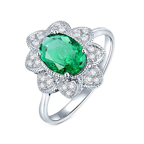 AnazoZ Anillos Mujer Plata Esmeralda,Anillo de Mujer Oro Blanco 18K Plata Verde Flor Oval Esmeralda Verde 1.15ct Diamante 0.14ct Talla 12