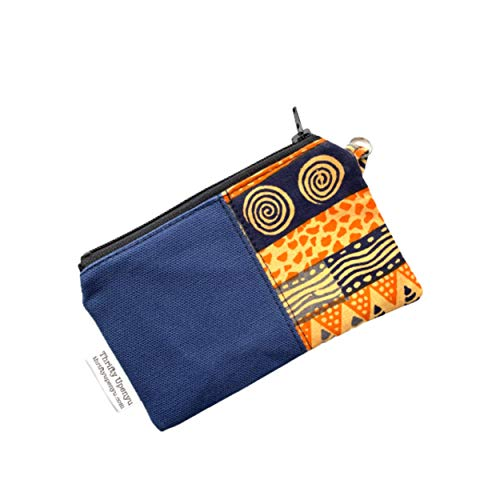Blue Canvas African Small Zipper Coin Pouch, Blue Small Change Purse