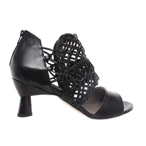 IXOS Damen Schuhe Ferse Sandalen Silene Schwarz Zip Leder Made In Italy Neu