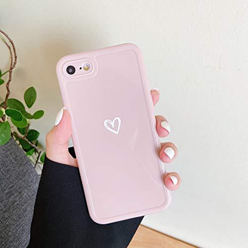 ZTOFERA Hülle für iPhone 7/iPhone 8/iPhone SE 2020, Weiches Silikon Hülle mit Herz Design, Flexibel TPU Anti-Kratzer Bumper Schutzhülle für iPhone 7/8/SE 2020 - Rosa