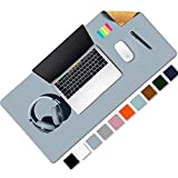 Aothia Eco-Friendly Natural Cork & Leather Double-Sided Office Desk Mat Mouse Pad Smooth Surface Soft Easy Clean Waterproof PU Leather Desk Protector for Office/Home Gaming (Blue-Gray,31.5' x 15.7')