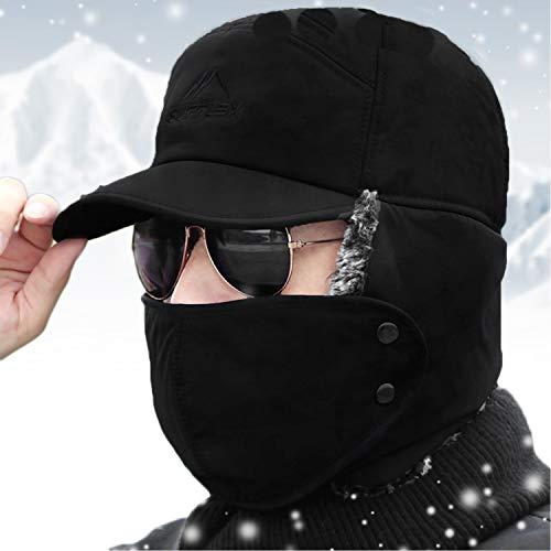Sombrero de invierno para orejas, cálido, cortavientos, pasamontañas para moto, balaclava, esquí, ciclismo, motocross, bicicleta de montaña, deportes, sombreros, impermeable, cortavientos Negro M