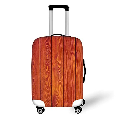 Travel Luggage Cover Suitcase Protector,Burnt Orange,Wood Texture with Natural Patterns Oak Timber Tree Floor Decorative Design Home Decorative,Burnt Orange,for Travel S