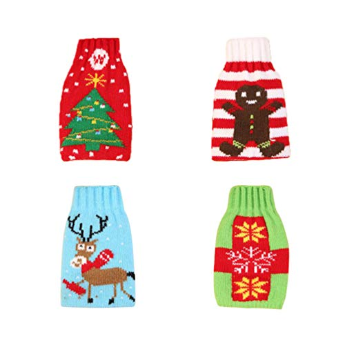 TOYANDONA Christmas Wine Bottle Covers Knitted Jumper Bags for Christmas Dinner Party Pack of 4