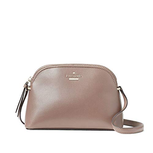 """Material: Leather, Gold tone hardware ,Top zip closure Exterior slip pocket on back Interior slide pocket, Interior Capital Kate jacquard lining Adjustable strap for crossbody with 22"""" Drop Size Approximate Measurements: 9"""" (L) X 6"""" (H) X 3.25"""" (D)"""