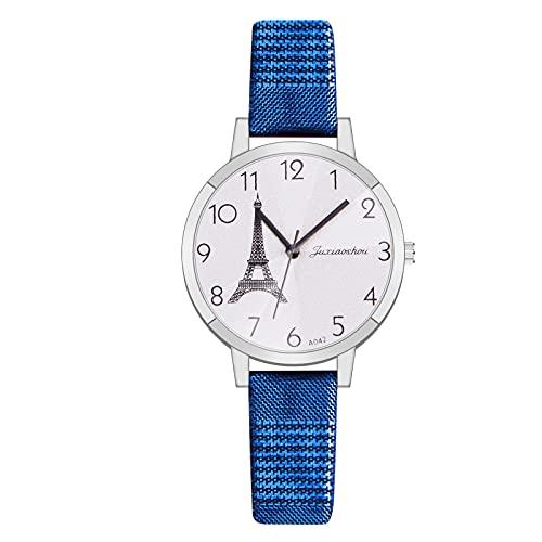 CXJC Reloj Deportivo de Mujer de la Correa milanesa, Reloj de Ladies de dial Grande Redondo de 35 mm, Reloj de Cuarzo Digital de la Torre Creativa (Color : Re)