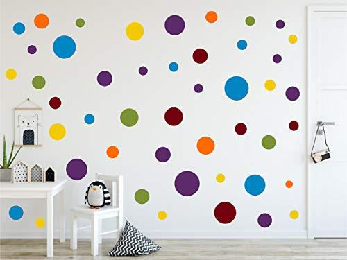 timalo® 120 Stück Wandtattoo Kinderzimmer Kreise Pastell Wandsticker – Aufkleber Punkte | 73078-SET14-120