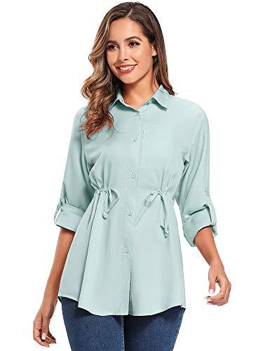 Jessie Kidden Damen-Hemd mit LSF 50+, UV-Schutz, Safari-Shirt, langärmelig, kühl, schnelltrocknend, Angeln, Wandern, Gartenarbeit Gr. X-Large, 2 #Blau