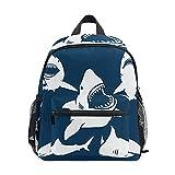 ISAOA Danger Shark Silhouettes in The Deep Blue Set Mochila para niños y niñas, mochila infantil con correa para el pecho, mochila preescolar, bolsa de guardería, bolsa para pañales, bolsa de pañales