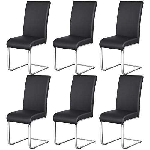 Yaheetech Esszimmerstühle Schwingstuhl 6er Set Küchenstuhl Kunstleder 135 kg belastbar, Schwarz
