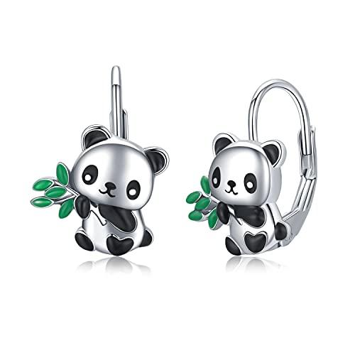 Panda Ohrringe Mädchen Creolen Silber 925 Hypoallergene Ohrringe Mädchen Kinder Ohrhänger Tiere Kleine Creolen Panda Schmuck Geschenke für Damen Frauen Tochter Teenager