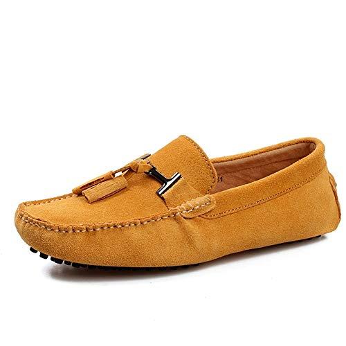 WOW-shoes Herren Veloursleder Loafers Classic Slip Ons beiläufige Bootsschuhe Driving Schuhe Dunkelblau, Gold, Grau, Dunkelgrün, Kaffee,Gelb,48