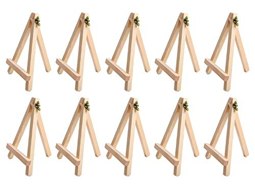 MUCHEN SHOP Mini Caballete Madera,10 Pack Caballete Expositor de Madera para Boda Foto Portátil Caballetes de Pintura para Exponer Lienzos Pequeños,Tarjetas de Visita y Fotos