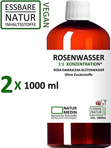 ROSENWASSER 2x 1000-ml Gesichtswasser, 100% naturrein, 1:1 Konzentration, Rosa damascena Blüttenwasser, ohne Zusatzstoffe, PET Braunflasche, 2000-ml (2-l), nachhaltig