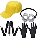 Haichen Lunettes Rondes Lunettes, Chapeau de Couleur Jaune Minion, Gants de Costume Noir - Déguisements Costume Party Supplies pour Cosplay Halloween Comic Parade (Ensemble de Casquettes de Baseball)