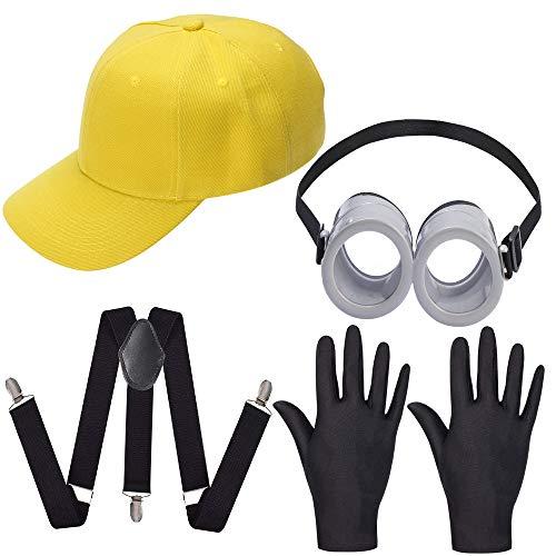 Haichen Gafas de Gafas Redondas, Sombrero de Color Amarillo Minion, Guantes de Traje Negro - Disfraces Suministros de Fiesta de Disfraces para Cosplay Comic Parade de Halloween