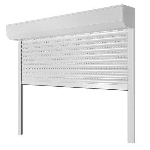 Vorbaurollladen Typ Corner, 39mm Aluminium-Lamelle 80x120cm mit Gurtwickler, Bedienseite: Links, (weiß (ähnlich RAL 9010)) als Maßanfertigung