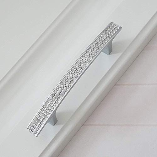 MOOD.SC 3.78  5.0  6.3  Drawer Knob Bow tiri del cristallo d argento Dresser Maniglia strass Vetro Kitchen Cabinet Manopole Bulloneria,3.78 holecenters