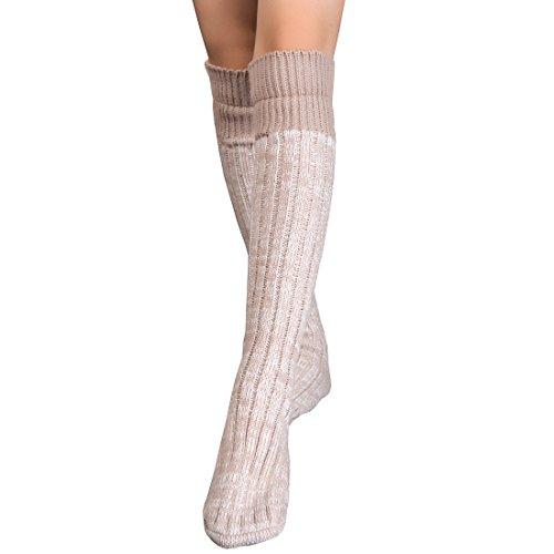 Women Cable Knitted Slipper Socks Knee High Leg Warmers