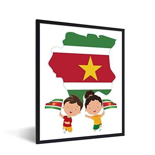 Poster mit Rahmen - Die surinamische Flagge, abgebildet als Illustration mit der Flagge - fotolijst zwart zonder passe partout - 30x40 cm