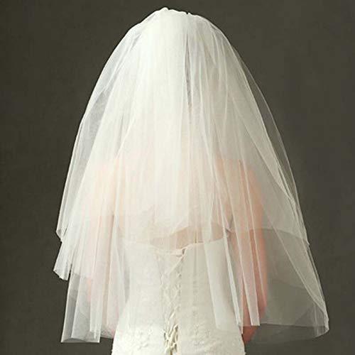 Dlorvogue70Cm Korte Vrouwen Haar sluier Eenvoudige Witte Tule Meerdere Lagen Bruids Lint Haar Band sluier Bruiloft Bruid Haaraccessoires
