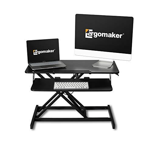 """Convertidor de Escritorio de pie Ajustable en Altura - 32"""" (80cm) de largo - Escritorio de pie para monitores duales - Escritorio de pie con una bandeja de teclado más amplia --Ergomaker- Negro"""