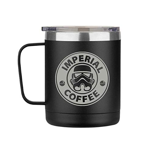 Science Fiction Wars 12oz Double Wall Insulated Coffee Mugs with Customized Laser Engraving, Novelty Souvenir Gift for Special Occasions, Cold or Hot Drinks, Leakproof Lid (Imperial Coffee, Black)