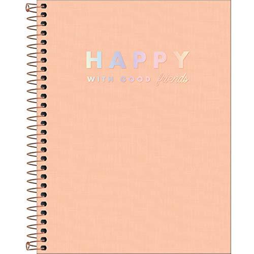 Caderno Espiral Capa Plástica Colegial 10 Matérias Happy Coral 160 Folhas, Formato: 177mm x 240mm, Tilibra, 313190