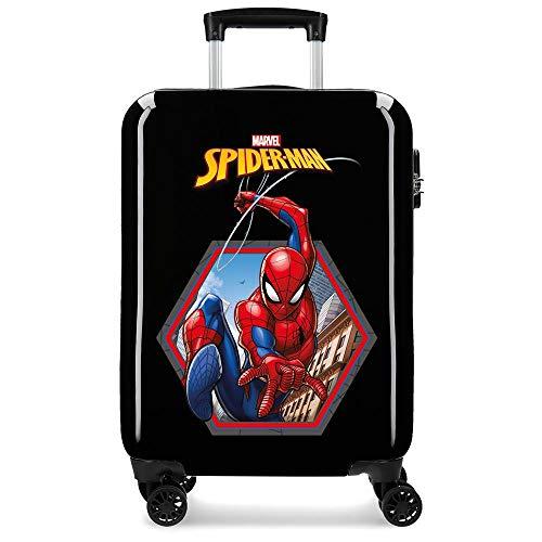 Marvel Spiderman Geo Maleta de cabina Negro 38x55x20 cms Rígida ABS Cierre combinación 34L 2,6Kgs 4 Ruedas Dobles Equipaje de Mano
