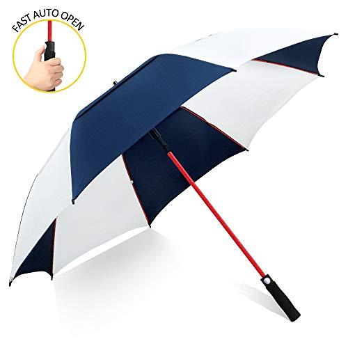 ZOMAKE 157cm Automatische Öffnen Golf Schirme Extra große Übergroß Doppelt Überdachung Belüftet Winddicht wasserdichte Stock Regenschirme (Marineblau/Weiß)