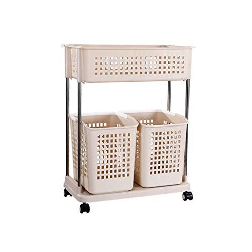 RYHON6 2-Tier Rolling Storage Basket Trolley Laundry Sorter Cart Shelf Floor-Standing Hamper High Capacity Dirty Clothes Basket Utility Storage Organizer for Washing Bin Kitchen Basin RYH
