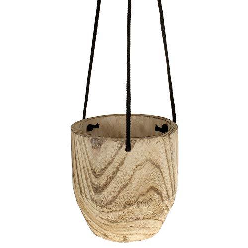 Macosa CP5289 Hangbloempot hout modern verschillende Vormen bloempot plantenpot hangend bloempot hangplantenpot hanglamp plantenhouder plantenbak lang 16 x 16 x 17 cm bruin/zwart