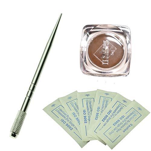 Kit professionnel de stylo à sourcils argent professionnel avec 10 micro aiguilles pour microblading à sourcils et un pigment naturel pour microblading (Café moyen)