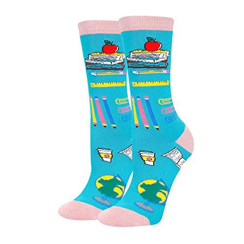 HAPPYPOP Reading Book Socks for Women, Teacher Nerd Librarian Book Lover Bookworm Gift