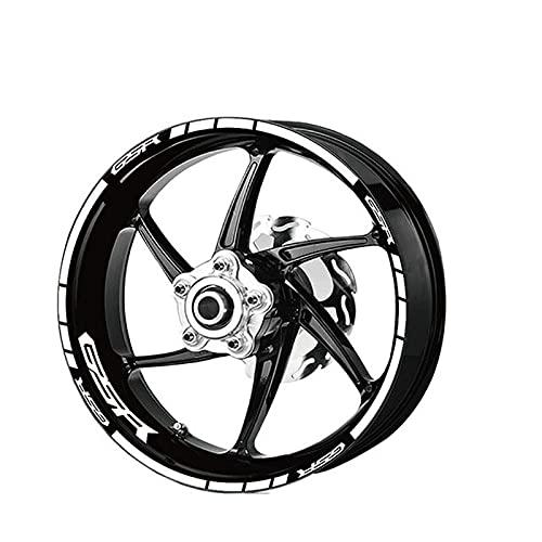 Qwjdsb para Suzuki GSR, calcomanía de llanta de Rueda de Motocicleta, Juego de calcomanía Decorativa con Logotipo Reflectante de Borde Interior y Exterior