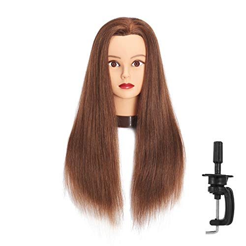 Headfix 24 -26  Hair Mannequin Head 100% Human Hair Hairdresser Practice Styling Training Head Cosmetology Manikin Doll Head With Clamp (6F1919LB0418H)