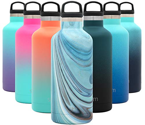 Simple Modern 32oz Ascent Water Bottle - Hydro Vacuum Insulated Flask w/Handle Lid - Liter Double Wall Stainless Steel Reusable - Leakproof Thermos Pattern: Ocean Quartz