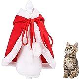 LLMZ Mantello per Gatti Regolabile Vestito Natalizio con Cappello Cat Costume di Natale per Cucciolo Gattino Piccoli Gatti Cani Animali Domestici Vestito da Festa (S)