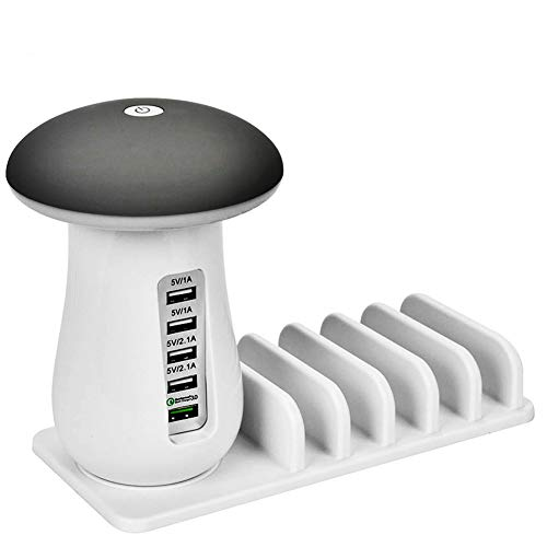 Freall USB Charging Station,USB Fast Charger,5 Ports Charging Dock QC3.0ChargerAdapter Hub with Desk LED Night Light Lamp for Kindle iPhone Apple Cell Phone and Android Devices(White)