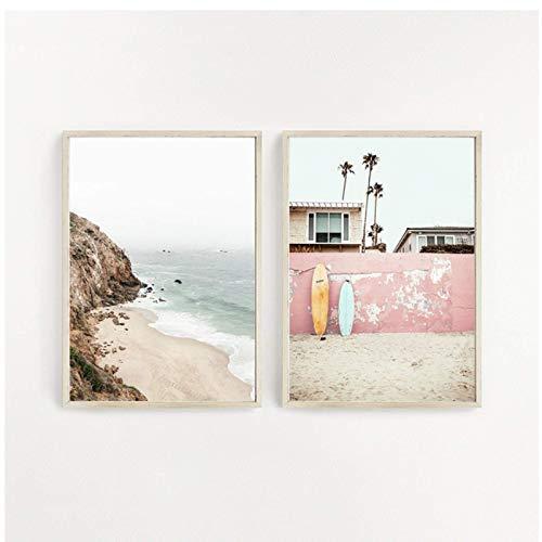 JLFDHR Arte de Surf, Arte de Pared de Playa, impresión de Verano, Paisaje de Puesta de Sol, Pintura en Lienzo, decoración de Tabla de Surf, Carteles costeros-50x70cmx2 sin Marco